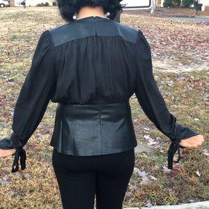 Gracia Tops - Gorgeous Faux Leather Contrast Top